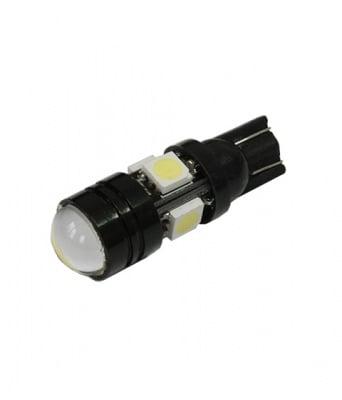 ЛАМПИ 12V T10 LED WHITE 5X5050 С ЛУПА
