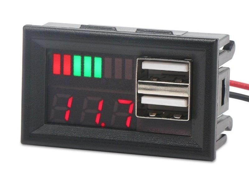 Тестер индикатор на капацитет на батерии 12V, волтметър, зарядно USB 5Vx2A