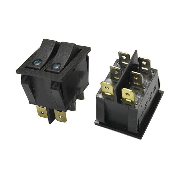Ключ светещ 2 позиции двоен цял син MK3911CN/BL