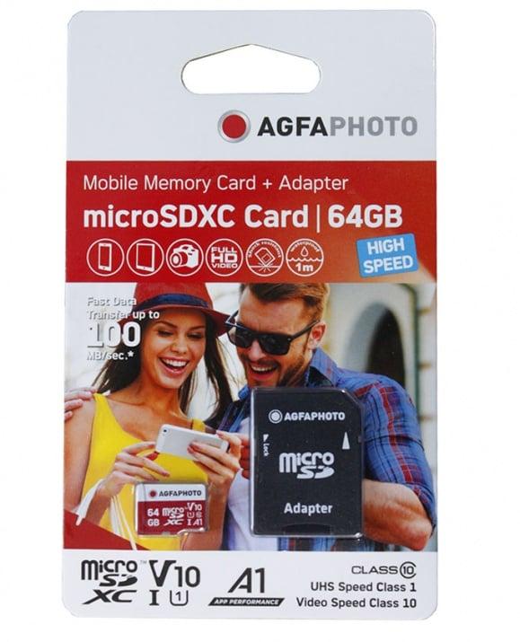 SD КАРТА MICRO 64GB С АДАПТОР КЛАС 10 AGFA PHOTO